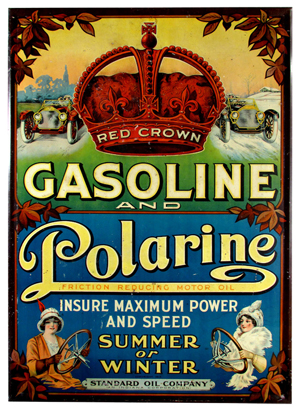 Red Crown Gasoline and Polarine tin sign, copyright 1913, 19 inches by 28 inches. Estimate: $10,000-$15,000. Showtime Auction Services image.