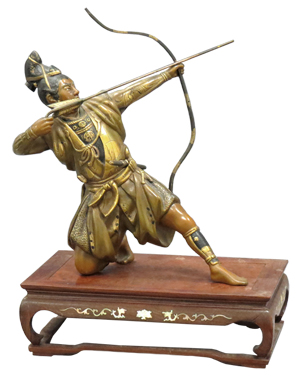 Japanese bronze archer. William Jenack Estate Appraisers and Auctioneers image.