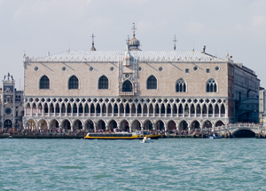 The Doge's Palace in Piazzo San Marco, Venice, is a Gothic-style landmark built in 1340. It was originally the residence of the Doge of Venice, the supreme authority of the Venetian Republic. It began its new life as a museum in 1923. 2007 photo by Andrew Balet, licensed under the Creative Commons Attribution 3.0 Unported license.