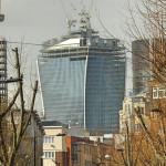 This picture of the 'walkie talkie' building at 20 Fenchurch, London, was taken in April 2013, when the building was still under construction, and shows its unusual, flared shape. Photo by Eluveltie, licensed under the Creative Commons Attribution-Share Alike 3.0 Unported license.