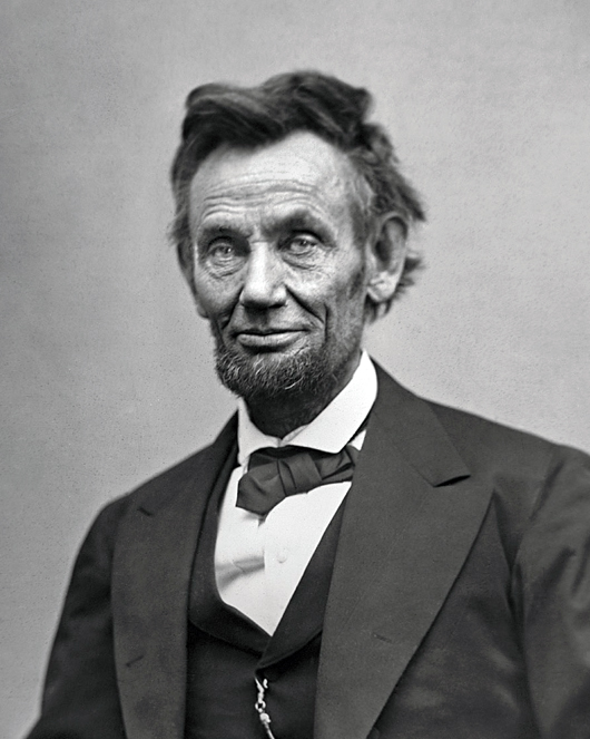 Alexander Gardner's (American, 1821-1882) photographic portrait of Abraham Lincoln taken on Feb. 5, 1865, approximately two months before his assassination.