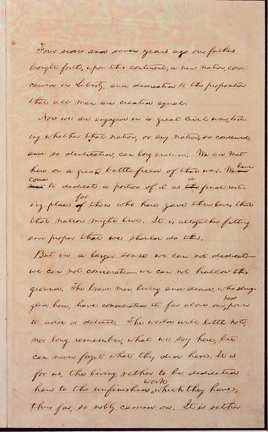 First page of John Hay's draft of the Gettysburg Address, in Abraham Lincoln's handwriting, from the Library of Congress website.