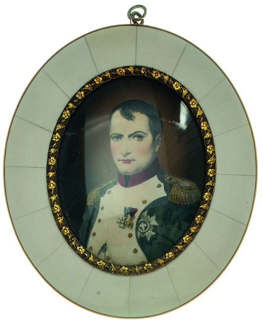This delicately colored portrait of Napoleon is one of a pair of ivory-framed miniatures with an opening bid of 180 Euro ($237). Photo courtesy Leipziger Münzhandlung und Auktion Heidrun Höhn.