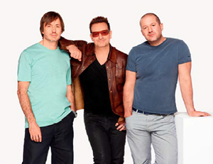 Marc Newson, Bono, and Sir Jonathan Ive. Image courtesy of Sotheby's.
