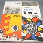 Set of six French art and literary journals titled Derriere Le Miroir (Paris: Maeght) featuring original lithos by Chagall, Calder and Tapies. Est. $200-$300. Waverly Auctions image.