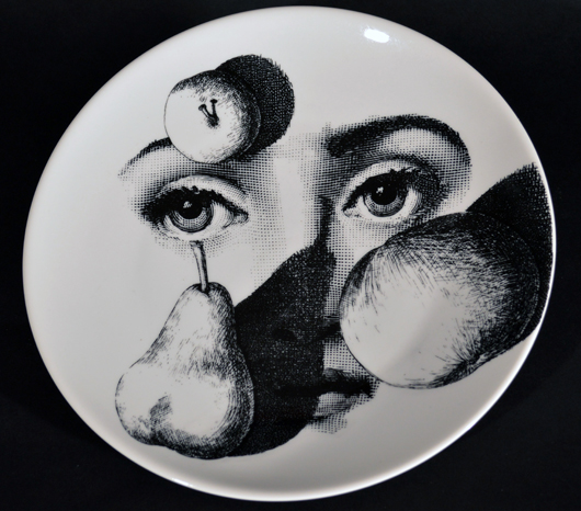 Ceramics specialist Paul Vandekar has added Fornasetti's 20th century designs to the inventory he exhibit at major antique fairs, where they sell in the $200-1,500 range. The dealer particularly likes the trompe l'oeil twist of this Tema e Variazioni plate. Courtesy Earle Vandekar of Knightsbridge.