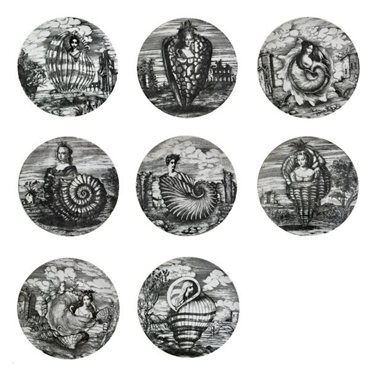 Less often found, a set of eight Le Oceanidi plates sold for $5,313 at Rago's in March. All are marked 'Fornasetti Milano Made in Italy' and date to the 1950s-1960s. Courtesy Rago Auctions.