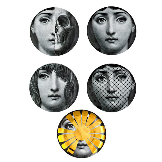 "Five plates from the Tema e Variazioni series featuring the face of opera singer Lina Cavalieri brought $2,375 at a Rago auction in March. All are 10 1/4 inches in diameter and are marked ""Fornasetti Milano Made in Italy."" Courtesy Rago Auctions."