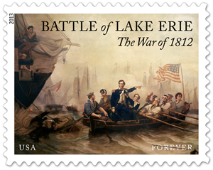 The stamp's subject is the Battle of Lake Erie, which took place on September 10, 1813. For the stamp design, the Postal Service selected William Henry Powell's painting, 'Battle of Lake Erie.' The oil-on-canvas painting, completed in 1873, was commissioned by the U.S. Congress and placed at the head of the east stairway in the Senate wing of the Capitol. It depicts Oliver Hazard Perry in the small boat he used to transfer from his ruined flagship, the 'Lawrence,' to the 'Niagara.' After boarding and taking command of the 'Niagara,' Perry attacked and demolished the British ships 'Detroit' and 'Queen Charlotte.' He then penned one of the most memorable phrases of the war in a report to General William Henry Harrison: 'We have met the enemy and they are ours.' Image courtesy of USPS.