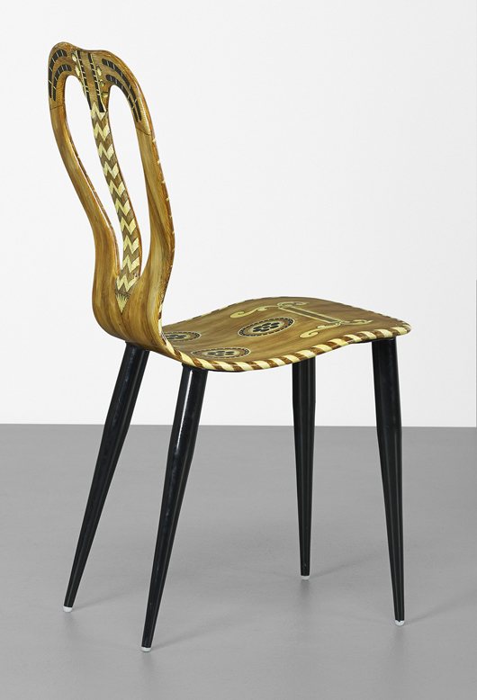 Wright auction in Chicago will offer this Musicale chair design by Piero Fornasetti in their Living Contemporary sale on Sept. 26 (est. $2,000-$3,000). Courtesy Wright.