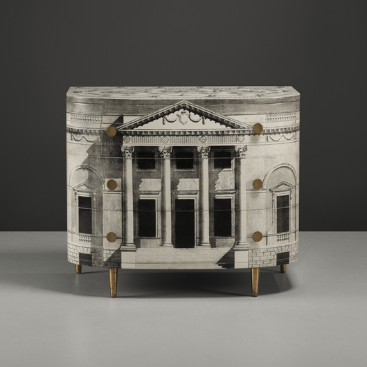 Fornasetti's furniture is often ornamented with classical motifs; a Palladian Cabinet brought $43,750 in a Wright sale of Italian Masterworks last December. Courtesy Wright.