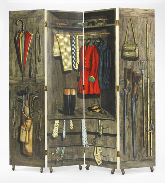 Fornasetti experimented with many trompe l'oeil designs, which decorated not only his porcelain plates but also furniture forms. This folding screen with a sporting gent's accessories sold for $7,200 at Wright in 2008. Courtesy Wright.