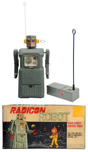 Top lot of the sale, Radicon Robot from Masudaya's Gang of Five series, with original remote control and box, $37,200. Morphy Auctions image.