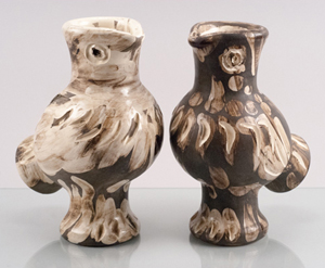 Picasso pottery 'Chouettes' (Owls), each 11¾in tall, to be auctioned separately, each with a $5,000-$8,000 estimate. Quinn & Farmer image.