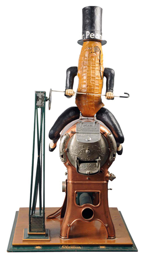 Rare Planter's point-of-purchase copper and steel peanut roaster topped with papier-mache figure of Mr. Peanut, design introduced in 1920. Estimate: $15,000-$20,000. Morphy Auctions image.