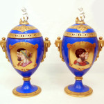 Pair of Sevres mantel urns. Stephenson's Auctioneers image.