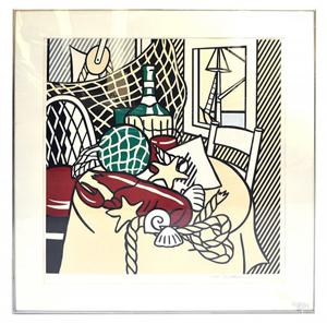Lot 701 – Roy Lichtenstein graphic from 'Six Still Lifes' series. Roland Auction image.