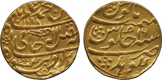 Lot 1366 - Princely States, Gohad, broad-flan gold mohur, 25mm, struck by the local Jat ruler in the name of Shah 'Alam II, AH 1188 year 16. Estimate: £3,000-£4,000. Baldwin's image.