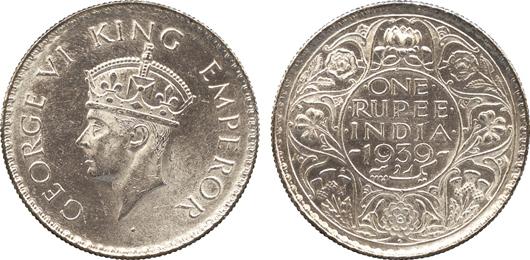 Lot 2448 - British India, silver rupee, 1939B, obverse: 'GEORGE VI KING EMPEROR,' Estimate: £4,000-£6,000. Baldwin's image.