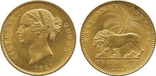 Lot 2459 - British India, gold mohur, 1841C, obverse 'VICTORIA QUEEN,' mint state. Estimate: £3,500-£4,500. Baldwin's image.