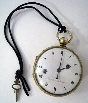 Extremely rare 18th century pocket clock watch made by Monnier & Mussard of Switzerland. Gordon S. Converse & Co. image.