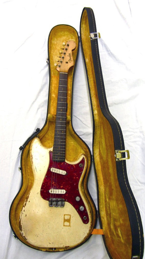 Fender Music Master guitar with case, owned and played by John Lennon. Est. £25,000-£35,000. Image courtesy LiveAuctioneers and The Fame Bureau.