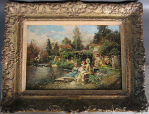 Cesare Augusto Detti (Italian, 1847-1914), 'On the River,' oil on canvas, signed C. Detti July '85. Sterling Associates image