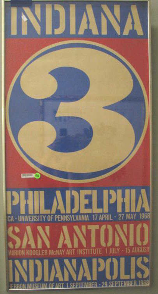 Wickliff & Associates Auctioneers in Indianapolis will sell this vintage Robert Indiana exhibition poster, 'Indiana 3,' personalized and signed by the artist, dated '68, on Saturday, Sept. 28. Image courtesy LiveAuctioneers.com and Wickliff & Associates Auctioneers.