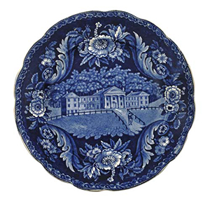 This plate with a view of Mount Pleasant Classical Institute is one of only three known examples, 10 5/8 inches diameter. Estimate: $4,000-$6,000. Pook & Pook Inc. image.