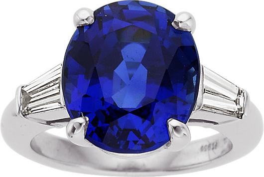 Tiffany & Co. sapphire, diamond, platinum ring. Price realized: $118,750. Heritage Auctions image.