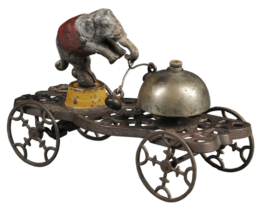An elephant that could ring a bell was the feature of this antique toy. The clever toy, rare and entertaining but with minor paint loss, sold for $1,230 at a Skinner auction in Boston last fall.