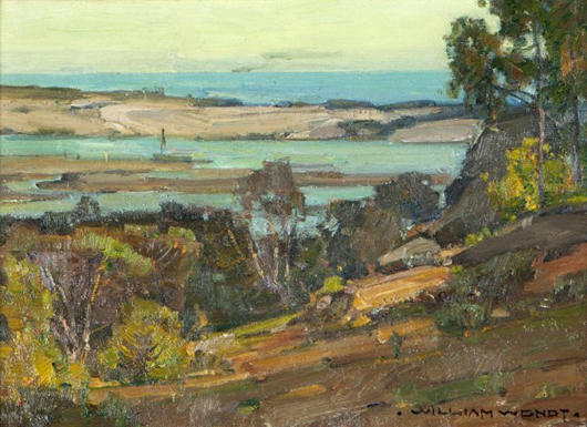 Also from the Bryant estate, 'Morro Bay,' by William Wendt, is estimated to sell for $12,000-$18,000. John Moran Auctioneers image.