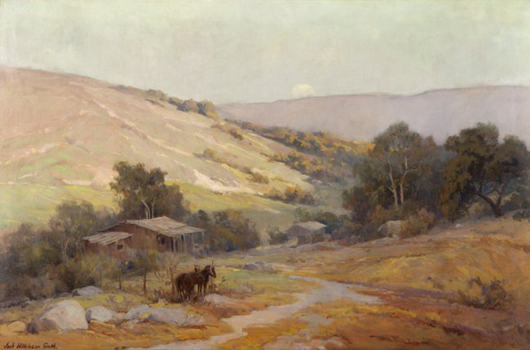 This early California painting by Jack Wilkinson Smith no doubt appealed to the rancher in its owner Ernest A. Bryant III. Depicting horses hitched near a homesteader's cabin, the piece is estimated to find a buyer for $30,000-$50,000. John Moran Auctioneers image.