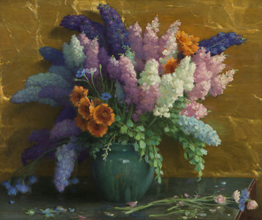 Fresh from a private Southern California collection, this vibrant still life by Pasadena artist Joseph Henry Sharp features delphiniums and California poppies. Estimate: $25,000-$35,000. John Moran Auctioneers image.