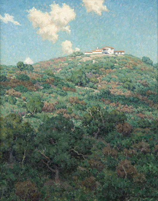 An interesting take on his usually expansive, sprawling landscapes, Granville Redmond's view of the Flintridge Biltmore Hotel hails from the estate of Ernest A. Bryant III. Estimate: $50,000-$70,000. John Moran Auctioneers image.