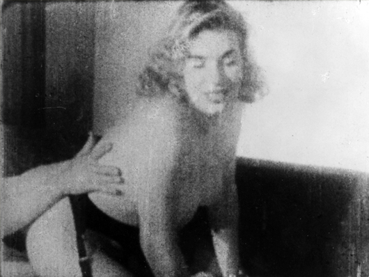 Marilyn Monroe stag print: These prints, supposedly of a 20-year-old Marilyn Monroe, were taken from a 1948 stag film and published in 'Penthouse' in 1980. Guccione Collection image.