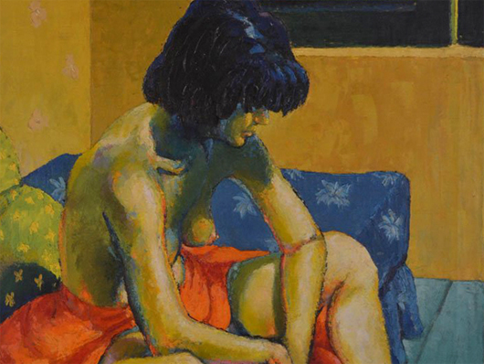 Bob Guccione M oil painting: one of Bob Guccione's seminal pieces, which depicts his second wife, Muriel. This painting is dated July 1954. Guccione Collection image.