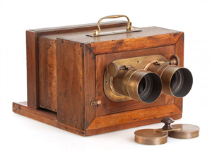 Early cameras, like this stereo wet plate camera, will be displayed at the International Photography Hall of Fame and Museum. Image courtesy LiveAuctioneers.com Archive and Auction Team Breker.