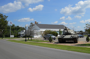 A tornado blew the roof off the former USO hall in 2013. Image by Woodlot. This file is licensed under the Creative Commons Attribution-Share Alike 3.0 Unported license.