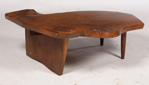 George Nakashima free-edge walnut coffee table that topped $13,000. Kamelot Auction House image.