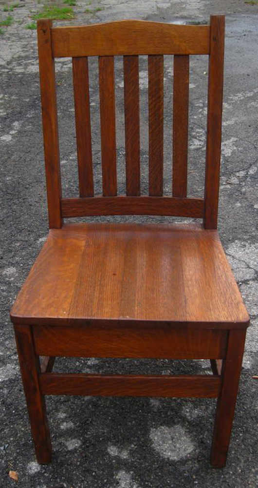 This oak chair was attributed to Stickley Brothers. Maybe, maybe not. Probably not.