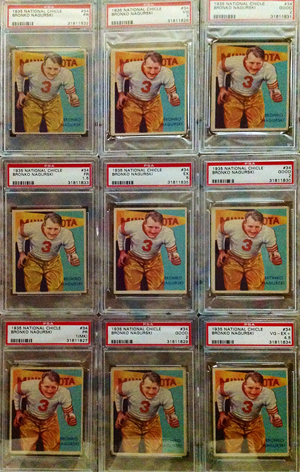 First of 10 Bronco Nagurski 1934 PSA 5. The first of the ten being offered 1935 National Chicle #34 Nagurski cards is the highest graded of the group estimated value $2,000-$4,000 Photo courtesy of Wilson's Auctioneers & Appraisers