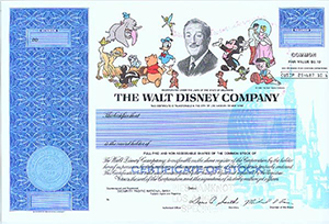 Specimen certificate for common stock in the Walt Disney Company. Image courtesy of LiveAuctioneers Archive and Scott J. Winslow Associates Inc.