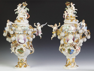 The top lot of the auction was this spectacular pair of antique Meissen armorial covered urns, which sold for $201,250. Cottone Auctions image.