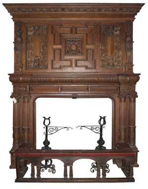 Lot 431A - large two-part figural fireplace mantel from oak paneled room. Kamelot Auction House image.