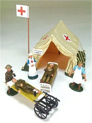 Britains Set #41115, Regimental First Aid Post, 10 pcs. with original box. Est. 20-$40. Old Toy Soldier Auctions image.