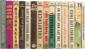 Ian Fleming, complete set of British first editions of the James Bond books, 14 items. Estimate: $30,000-plus. Heritage Auctions image.