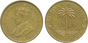 This British West Africa George V brass 2-shilling, thought to be one of only two still in existence, sold for £12,000. Baldwin's image.