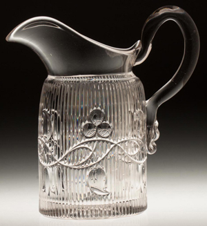 Bellflower double vine pint jug/cream pitcher, of colorless lead glass, attibuted to M'Kee & Brothers, third quarter, 19th century 6 1/2 inches, sold for $5,463. Jeffrey S. Evans & Associates image.