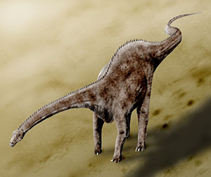 Artistic re-creation of Diplodocus carnegiei, the well known sauropod from the Late Jurassic of North America. Artist: Nobu Tamura. Licensed under the Creative Commons Attribution 3.0 Unported license.